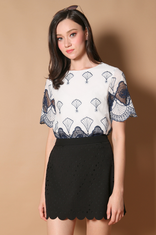 Steph Laser Cut Scallop Skirt in Black (XS)