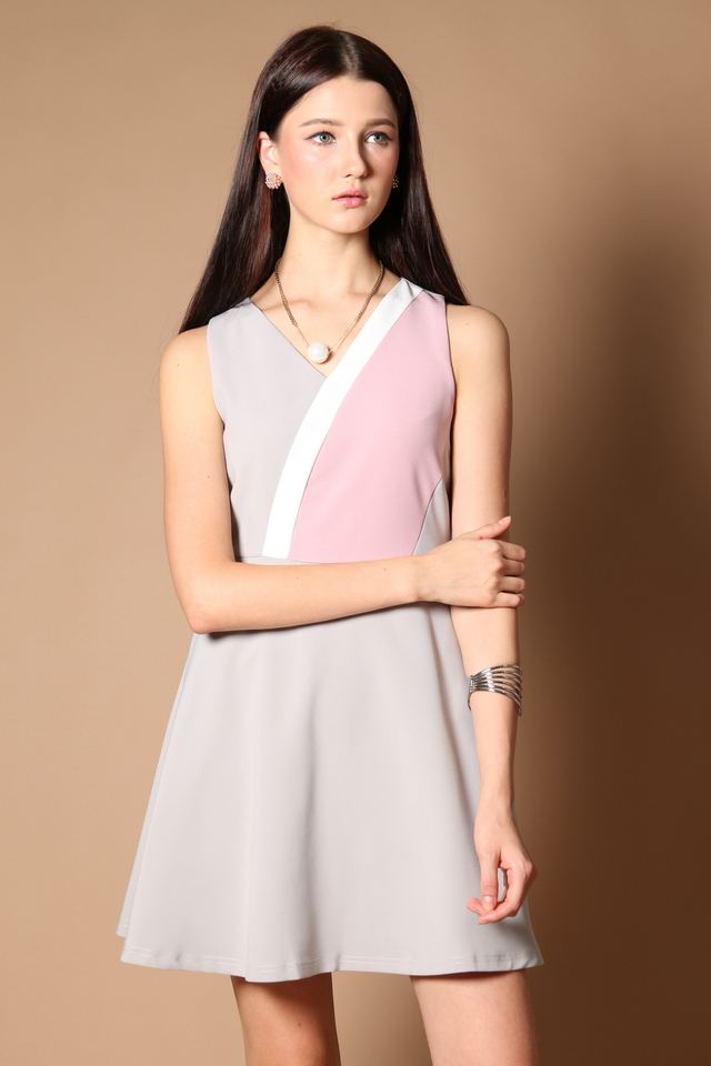 Ethel Colourblock Work Dress in Grey (XS)
