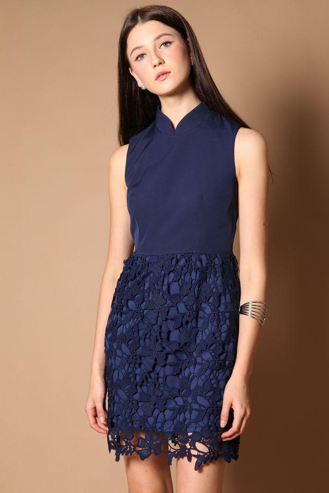 Meara Cheongsam Crochet Dress in Navy (XS)
