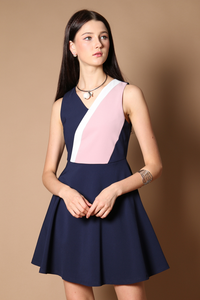 Ethel Colourblock Work Dress in Navy (XS)