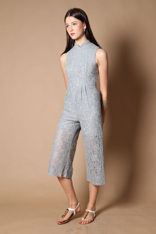 Trinity Qipao Lace Jumpsuit in Grey (XS)