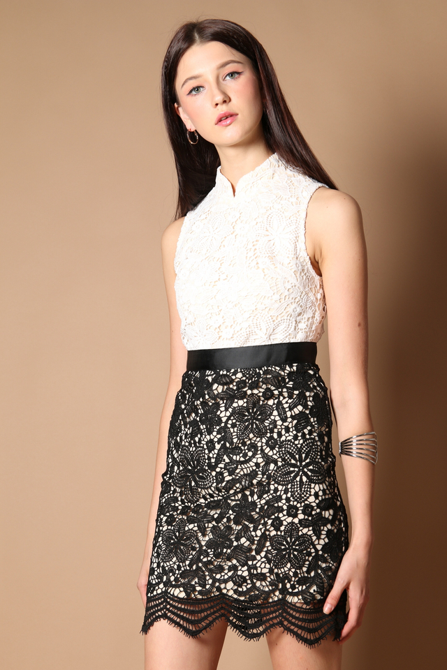 Gladys Crochet Qipao Dress in Black (XS)