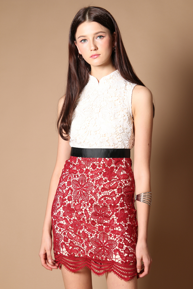 Gladys Crochet Qipao Dress in Wine Red (XS)