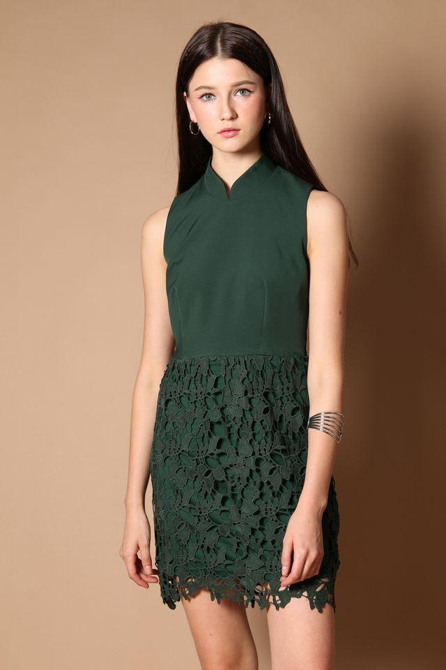 Meara Cheongsam Crochet Dress in Forest (XS)