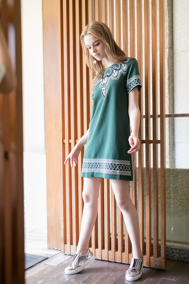 Francesca Embroidery Shift Dress in Forest (XS)