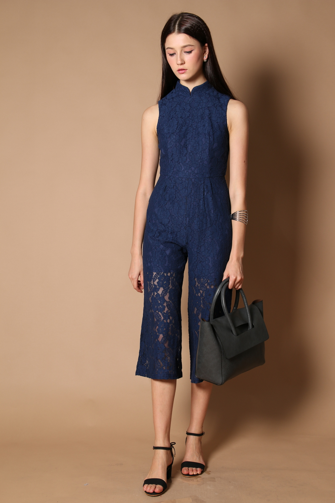 2e43f62f0693 Trinity Qipao Lace Jumpsuit in Navy