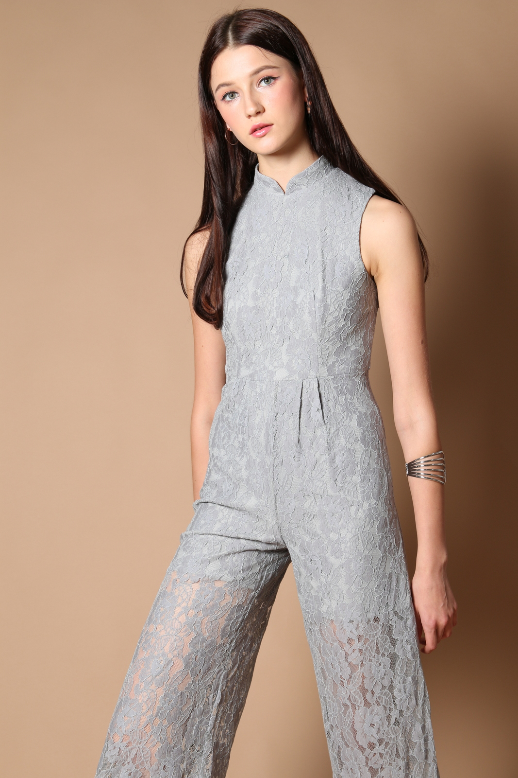b80d94026aab Trinity Qipao Lace Jumpsuit in Grey (XS)