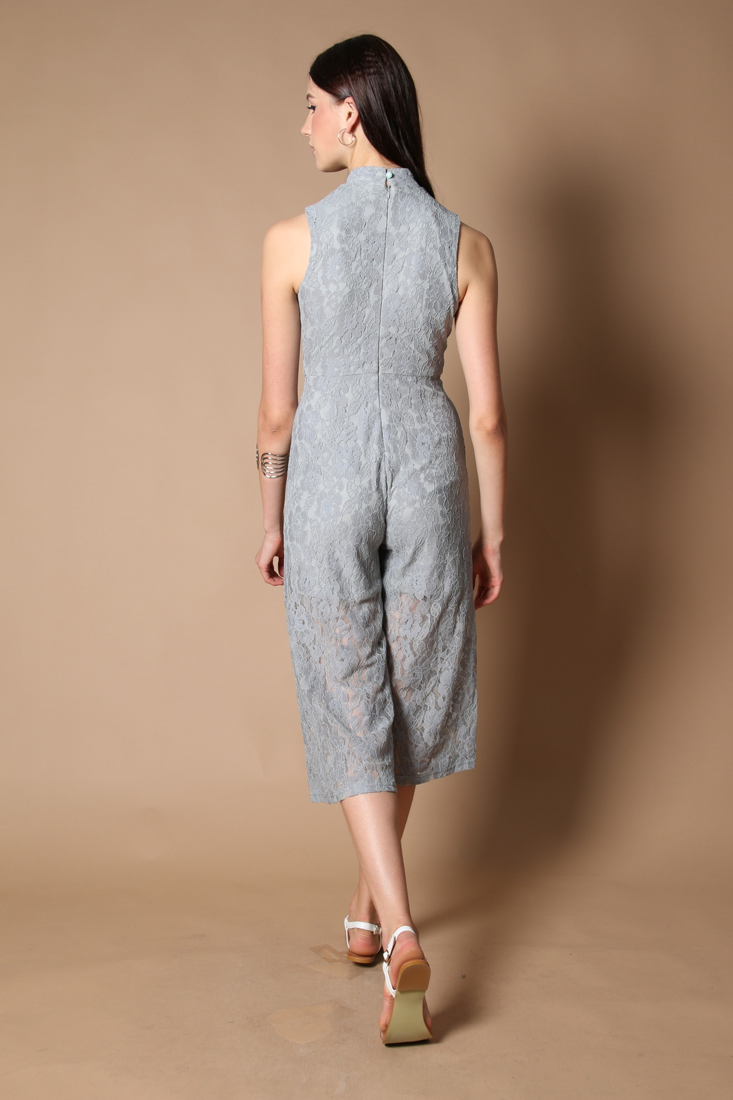 e61f5a270a24 Trinity Qipao Lace Jumpsuit in Grey