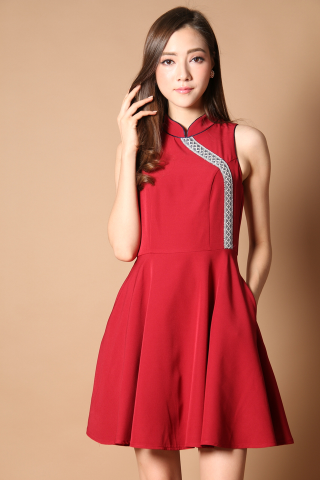 Prosperous Embroidery Cheongsam Dress in Festive Red (XS)