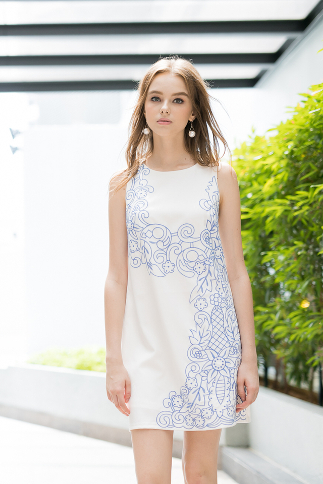 Faith Embroidery Dress in White