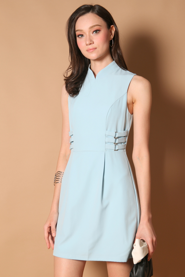 Liane Side Buckle Cheongsam Dress in Baby Blue