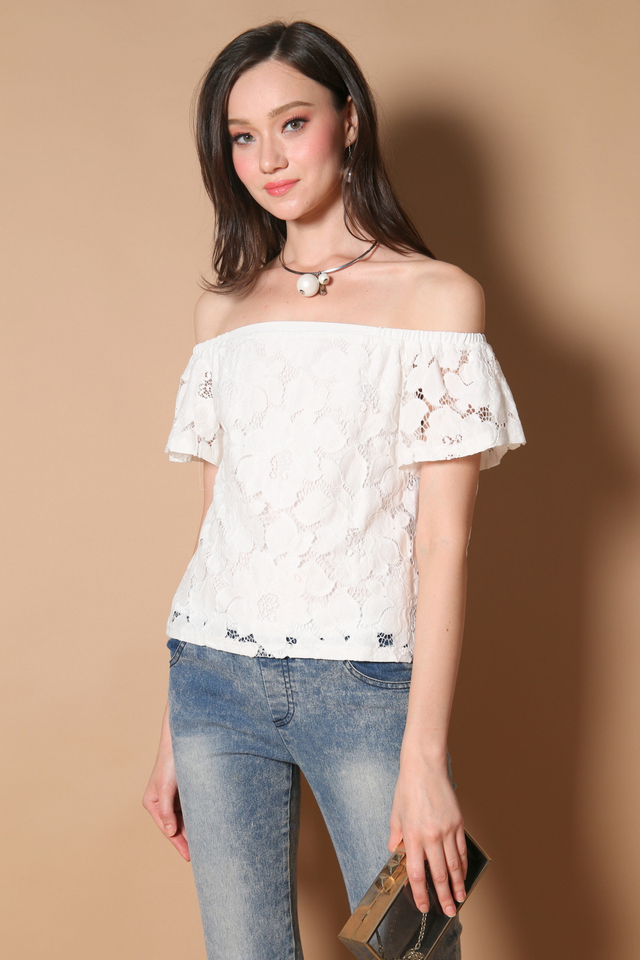 Stella Off Shoulder Lace Top in White