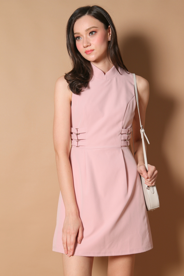 Liane Side Buckle Cheongsam Dress in Dusty Pink (XL)