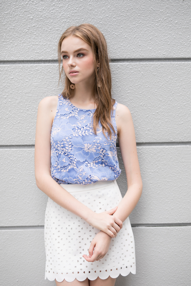 Ellen Lace Top in Periwinkle