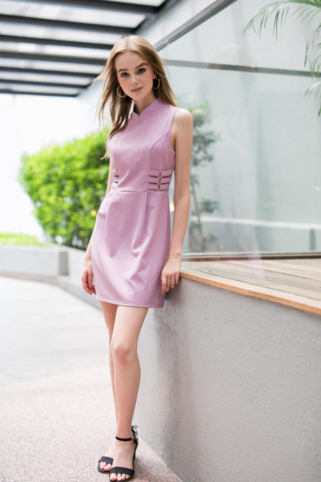 Liane Side Buckle Cheongsam Dress in Lilac (XL)