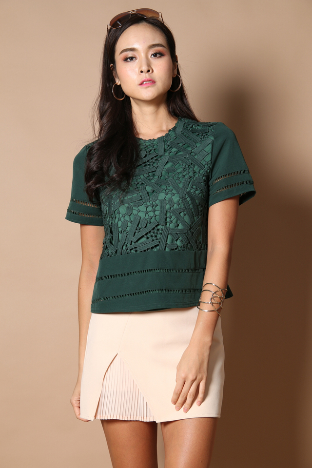 Jana Crochet Sleeve Top in Forest (XS)