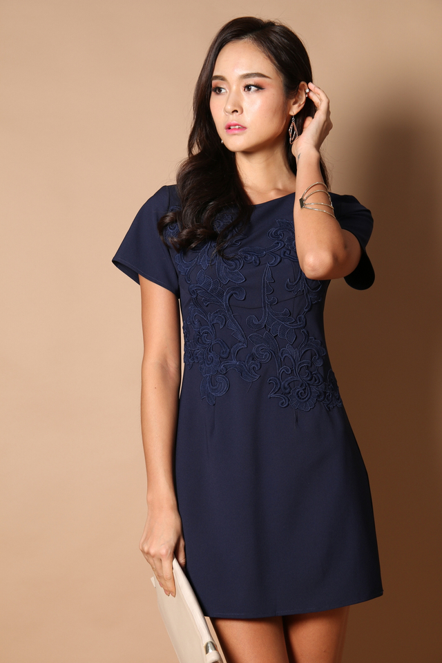 Queen Embroidery Work Dress in Navy Blue (XS)