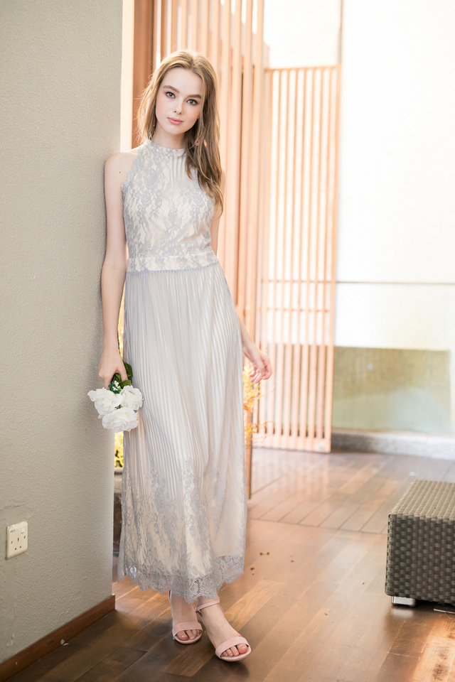 Victoria Lace Maxi Dress in Dusty Blue (XL)