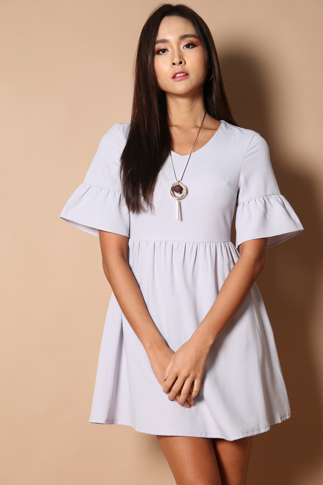 Sonia Bell Sleeve Babydoll Dress in Dusty Lilac