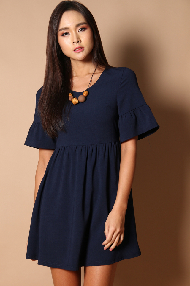Sonia Bell Sleeve Babydoll Dress in Navy