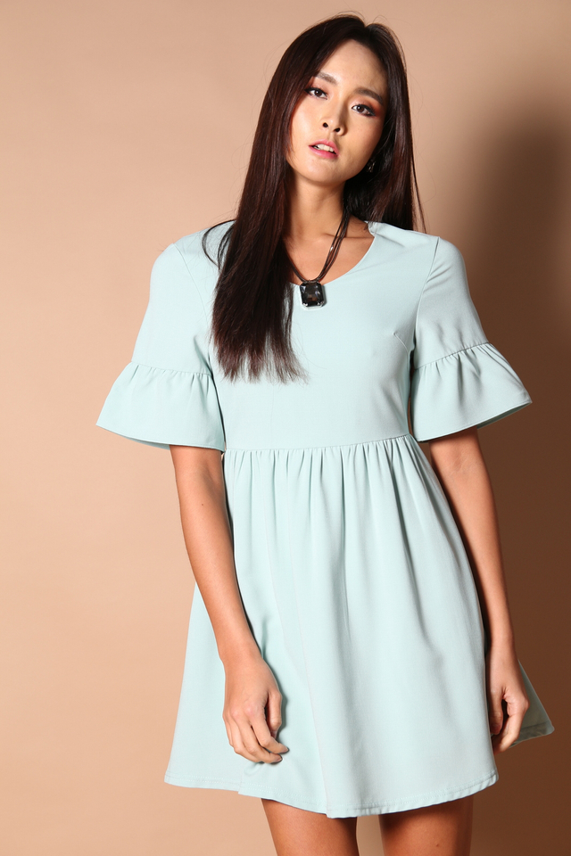 Sonia Bell Sleeve Babydoll Dress in Mint