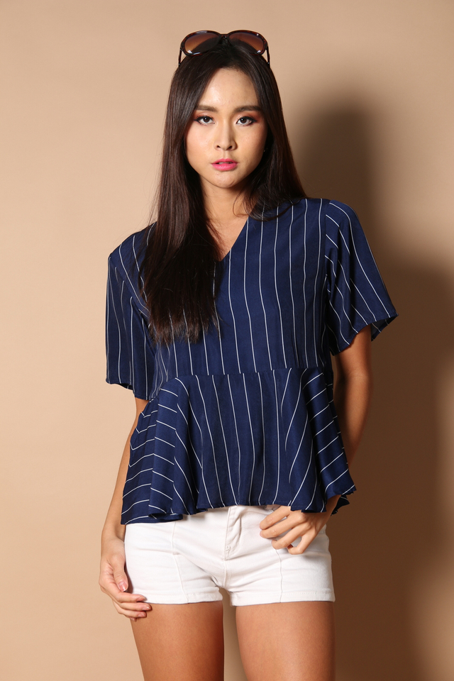 Rolla Pinstripes Peplum in Navy Blue