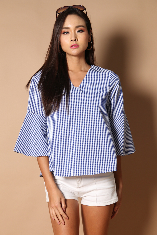 Neveda Bell Sleeve Top in Gingham