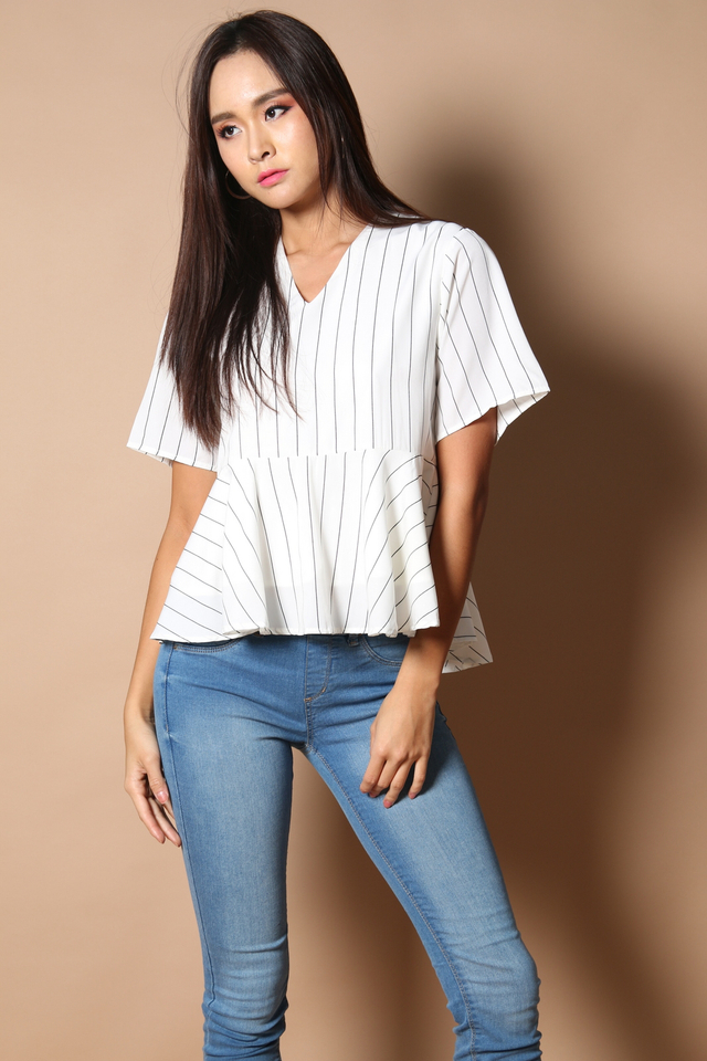 Rolla Pinstripes Peplum in White (XL)