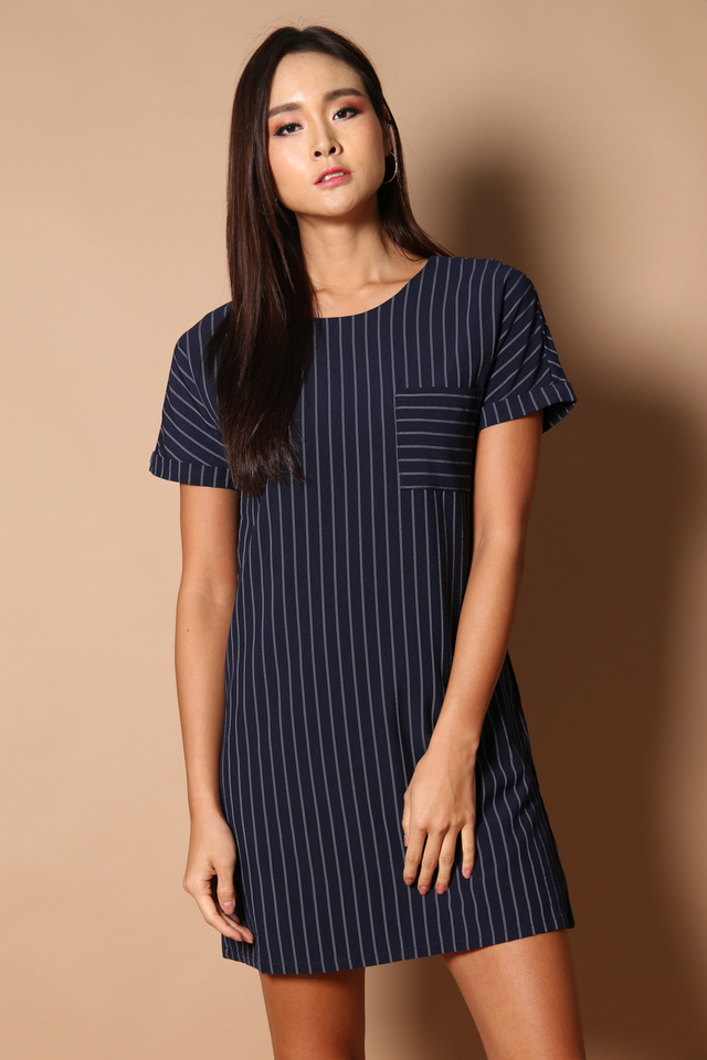 Olin Pocket Shift Dress in Navy
