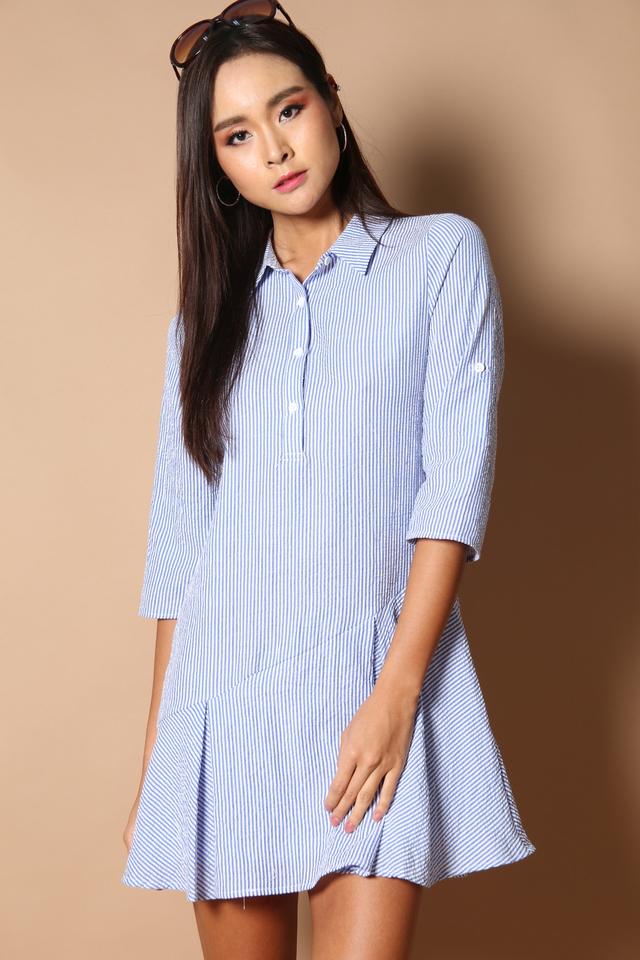 Skywalker Shirt Dropwaist Dress in Stripes