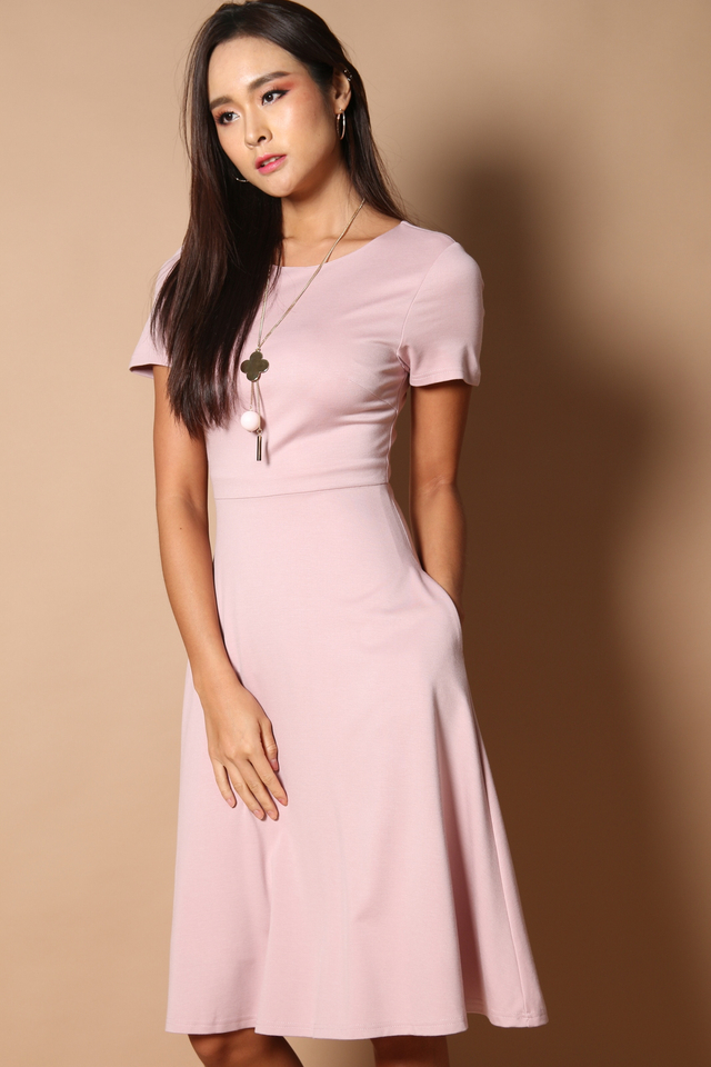 Clover Midi Basic Dress in Dusty Pink