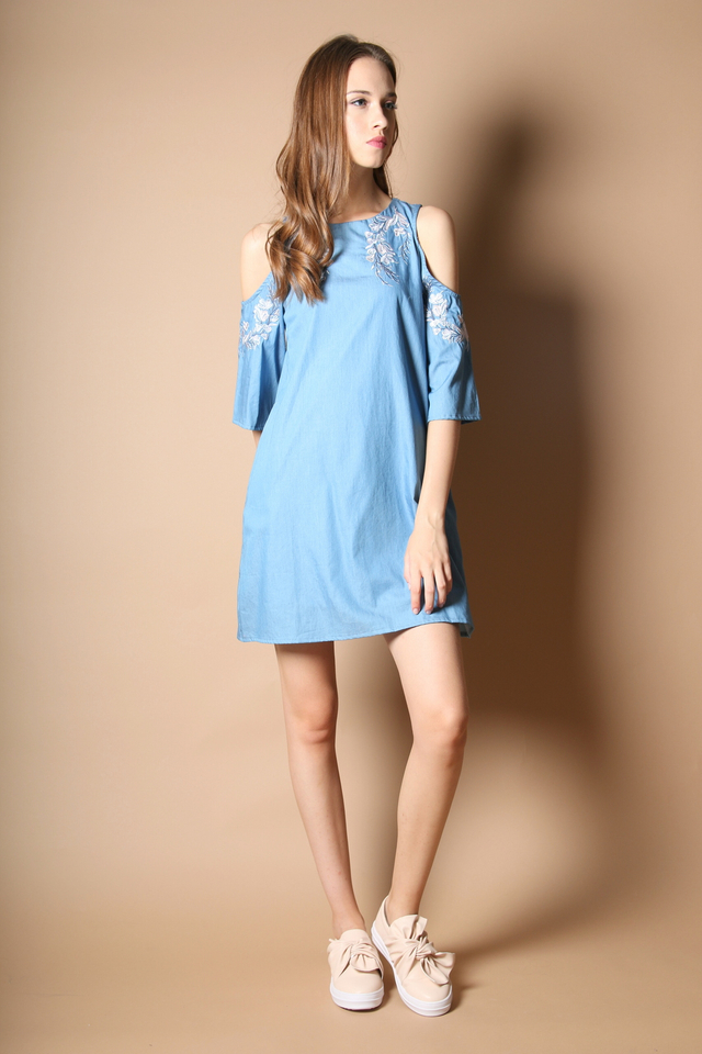 Lynn Cold Shoulder Embroidery Dress in Light Blue