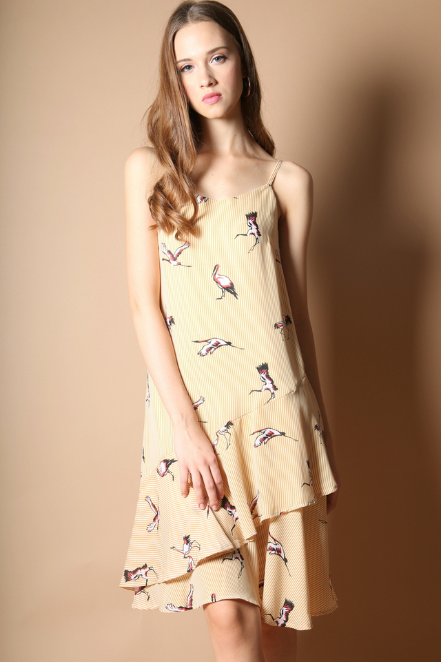 Carmen Stork Tiered Dress in Mustard