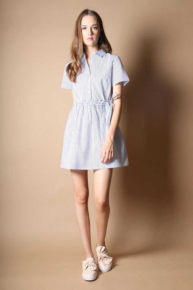 Connie Tie Waist Shirt Dress in White (L)