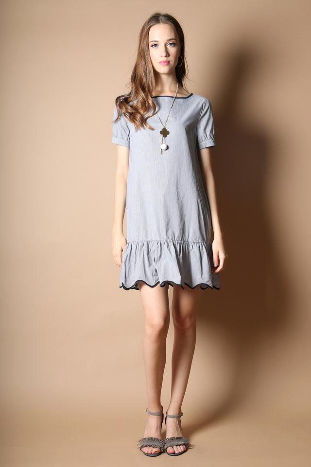 Phoebe Pinstripe Dropwaist Dress in Black