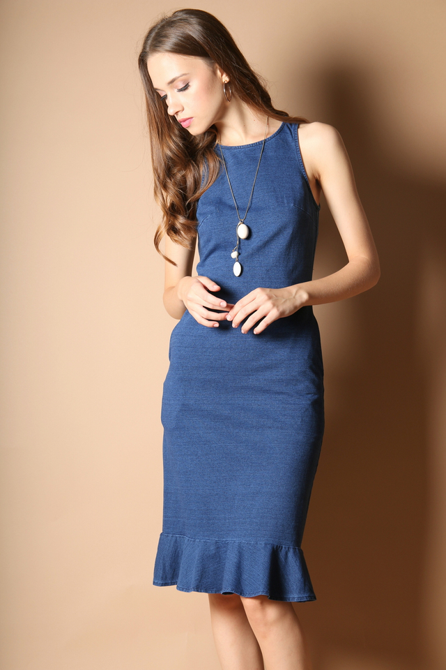 Allison Dropwaist Midi Dress in Denim