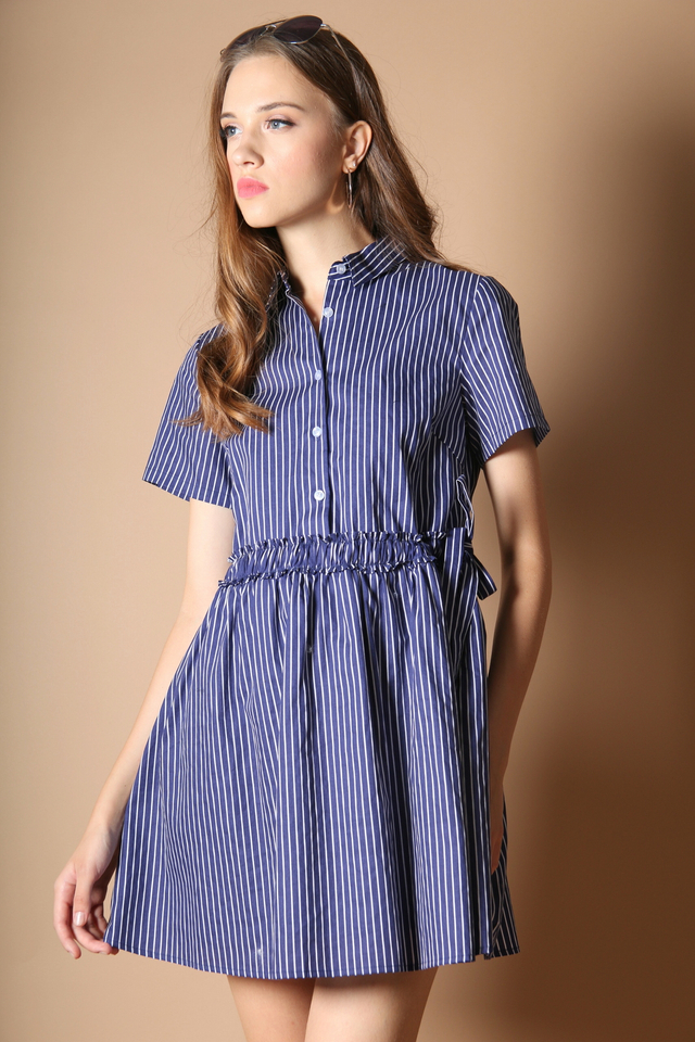 Connie Tie Waist Shirt Dress in Navy Blue (L)
