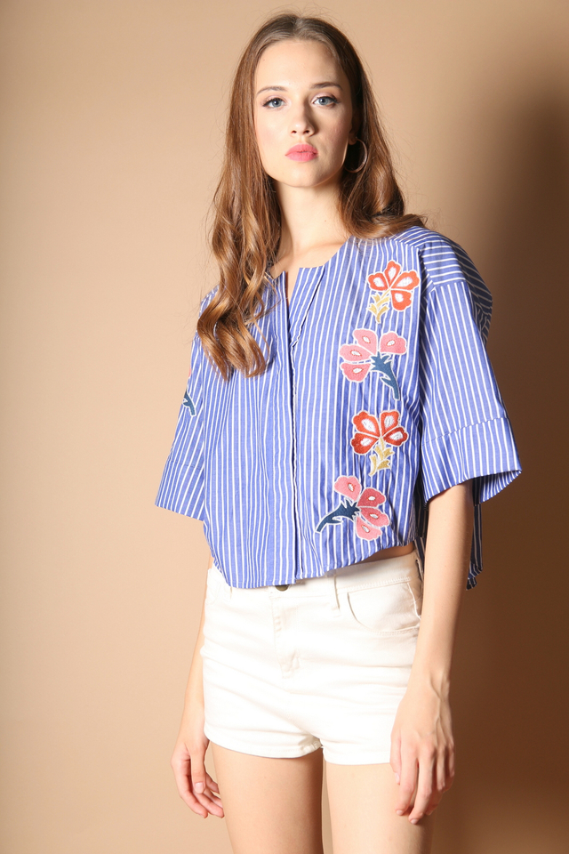 Sherena Floral Embroidery Top in Dark Blue