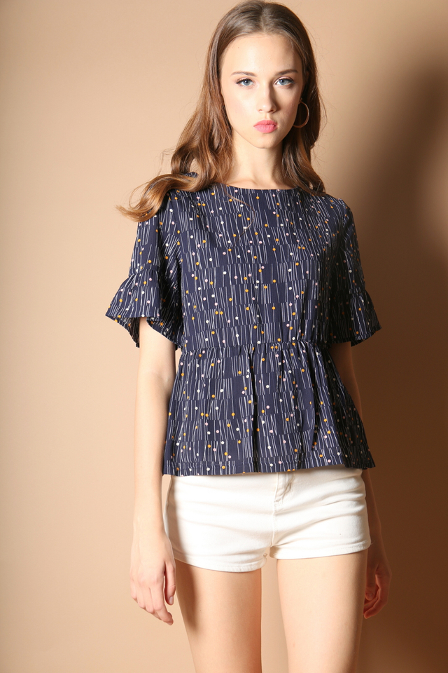 Vinny Polka Bell Sleeve Top in Navy