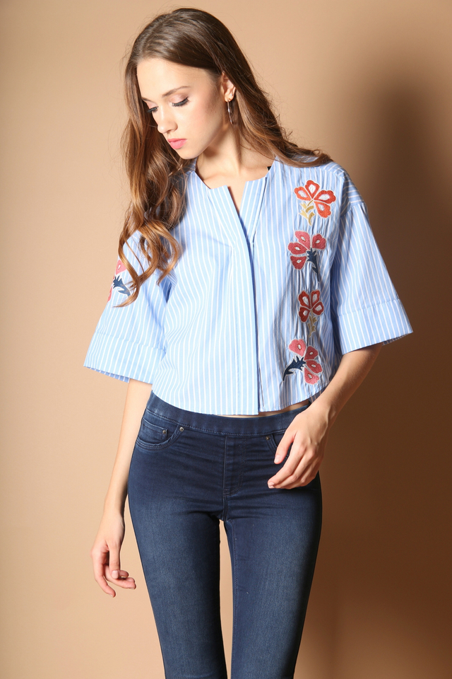 Sherena Floral Embroidery Top in Light Blue