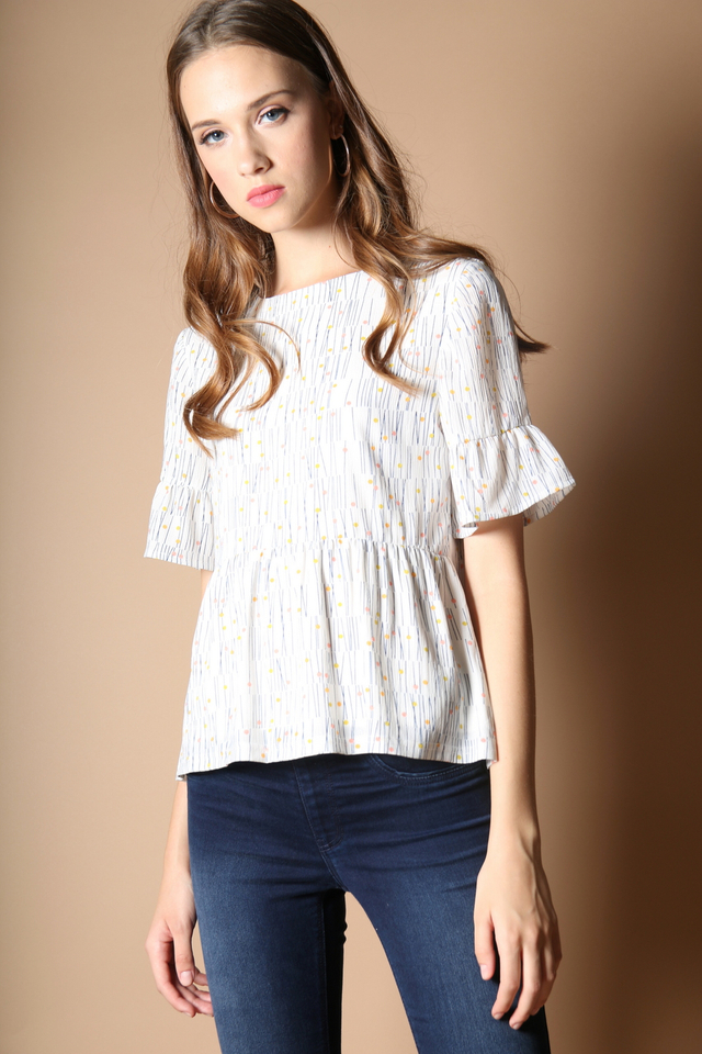 Vinny Polka Bell Sleeve Top in White