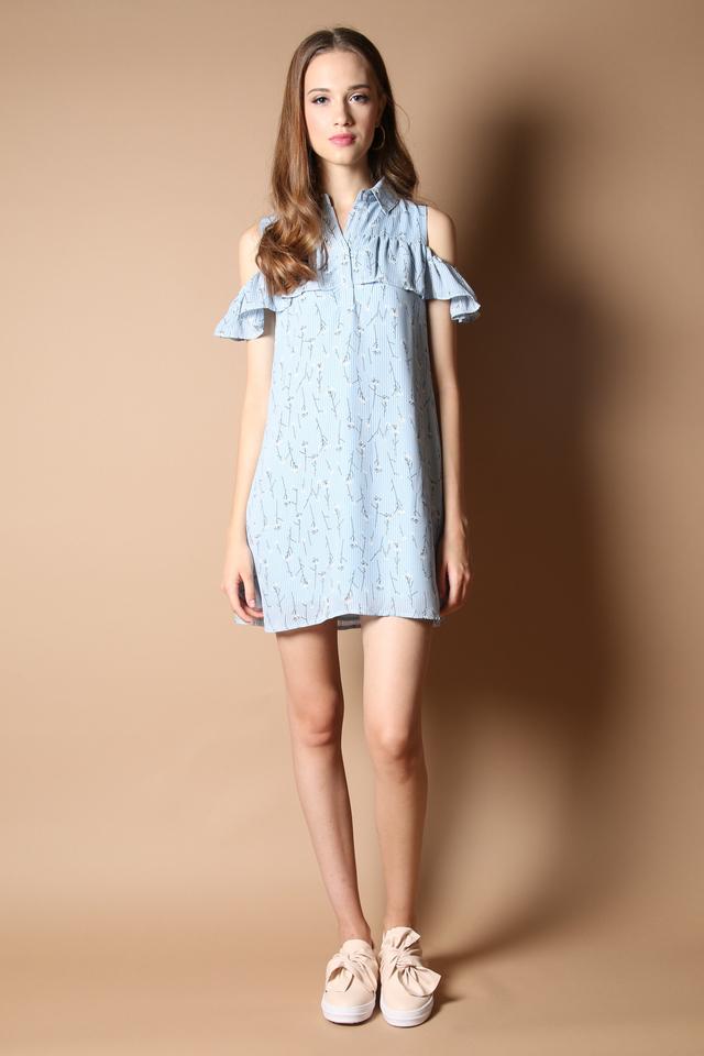 Andes Cold Shoulder Shirt Dress in Blue