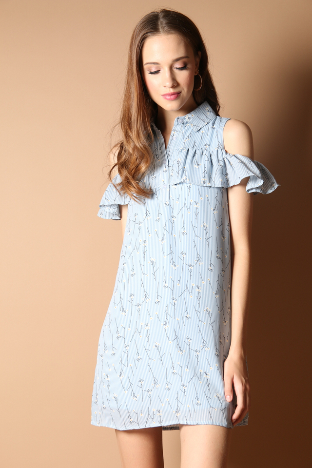Andes Cold Shoulder Shirt Dress in Blue