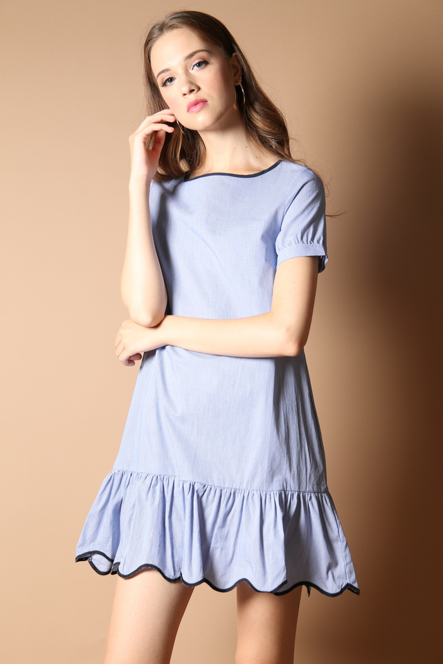 Phoebe Pinstripe Dropwaist Dress in Blue (L)
