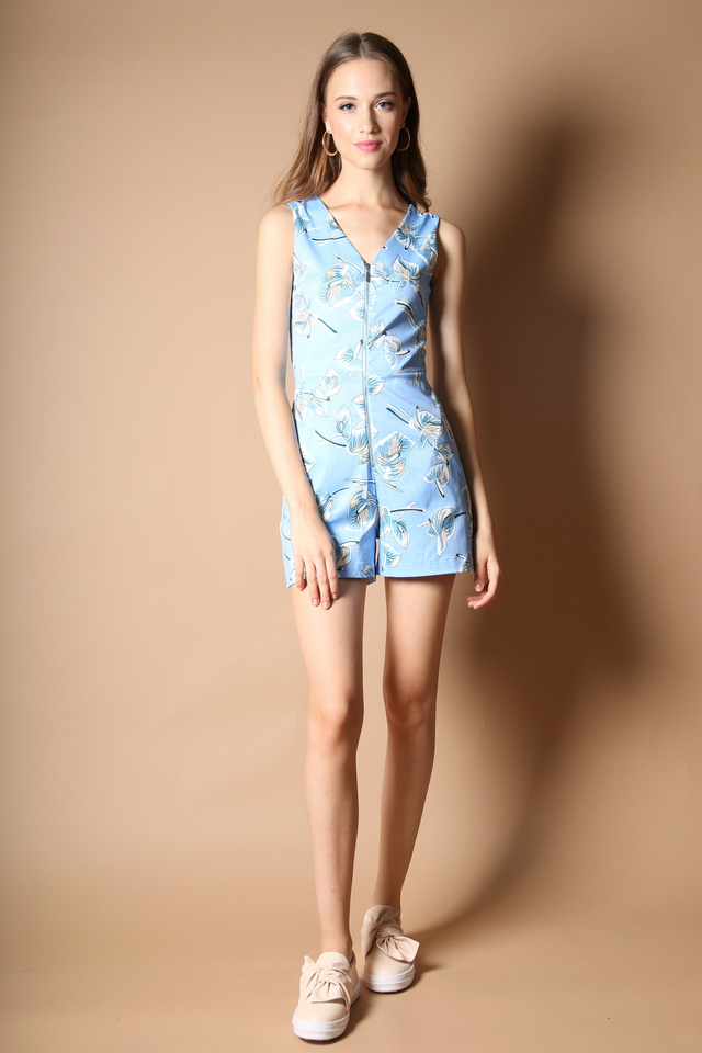 Briley Leaf Print Playsuit in Powder Blue