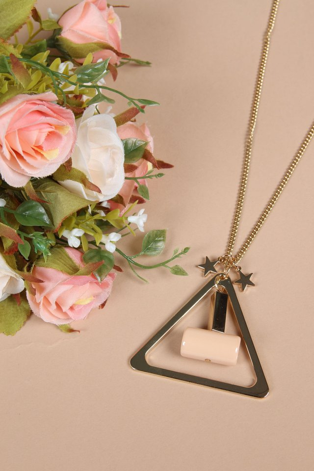 Stella Triangle Long Necklace in Gold