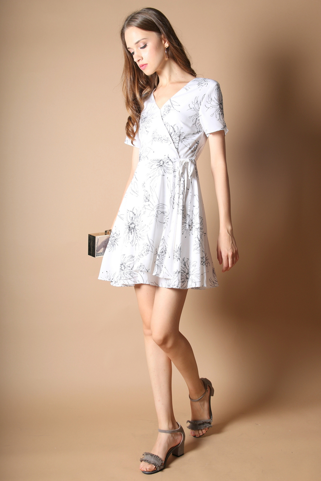 Sheila Floral Dress in White