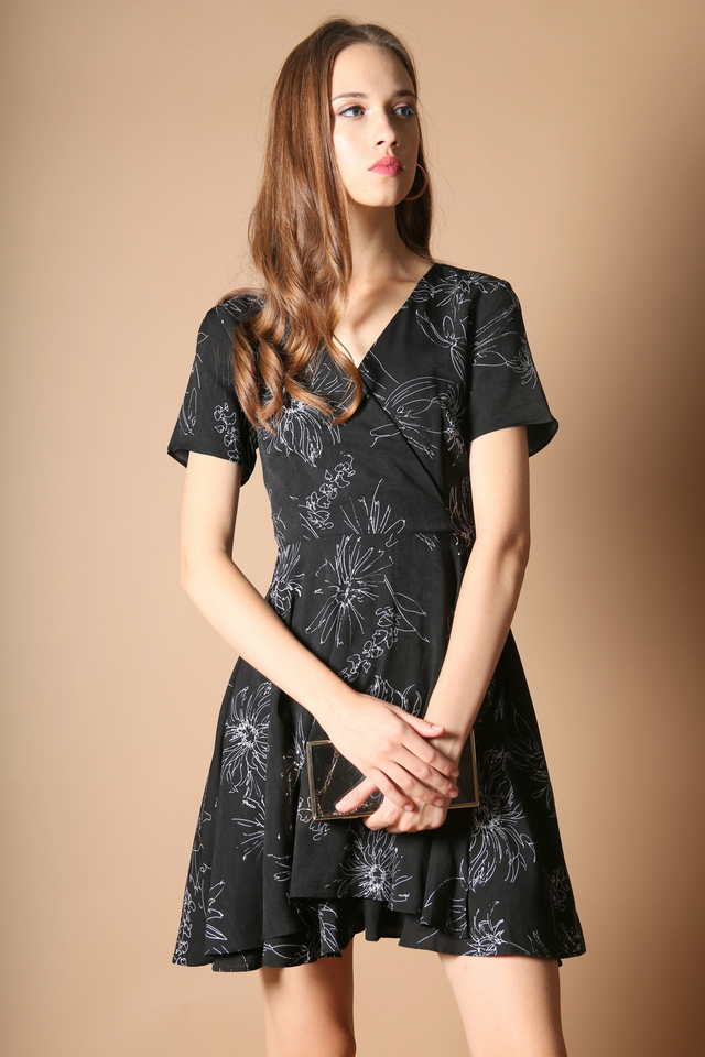 Sheila Floral Dress in Black