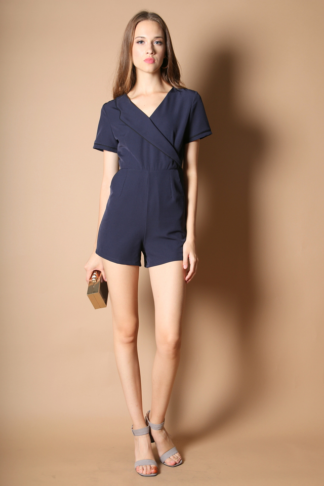 Claret Lapel Romper in Navy