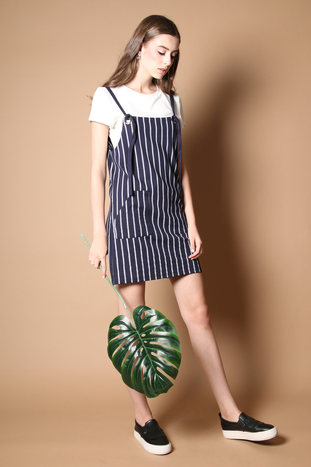 Kathlyn Two Piece Pinafore Dress in Navy